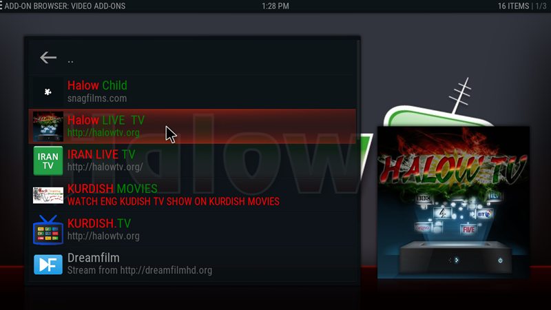 kodi halow tv 18